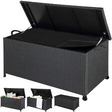 Poly Rattan Cushion Box Garden Storage Chest Large Black Patio Trunk