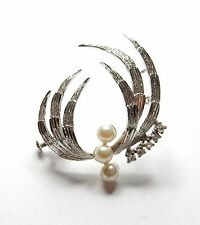 Modern 925 Sterling Silver FAUX PEARL & CLEAR CZ PIN BROOCH 5.7g