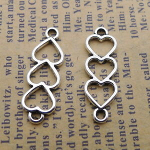 10 x Small Silver Tibetan Hollow Heart Charms.Jewellery making Neckaces Bracelet