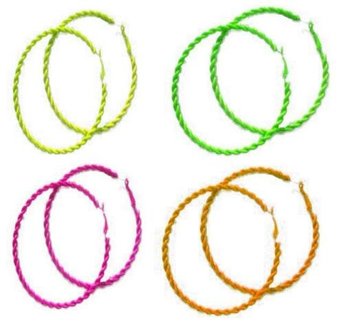 Orecchini borchie al neon Mix Tutu a giallo con arancione con orecchie Rosa viola Orecchini '80 bottone a verde neon cerchio al turchese Costume addio nubilato rosso anni wIqX4vxY
