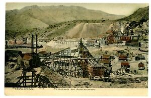 Prescott-Arizona-AZ-VIEW-OF-MINING-CAMP-Hand-Colored-Postcard