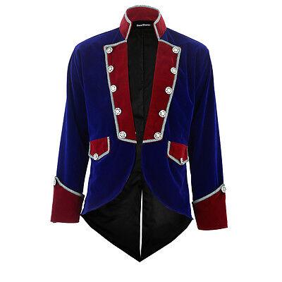 Men's Velvet VLADIMIR TUXEDO Jacket Tail coat Goth Steampunk Victorian/Red&Blue