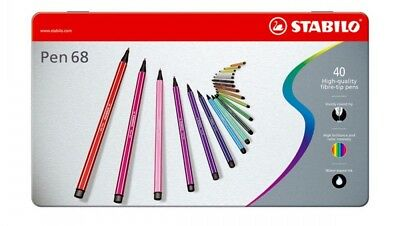Stabilo 68 Premium felt-tip Pen Metal Box of Colours
