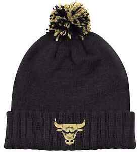 CHICAGO BULLS NBA adidas Cuffed Knit Black   Gold Metal Men s Pom ... 680a00646c7
