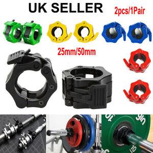 2X 25MM 50mm Weight Lifting Bar Collars Gym Standard Barbell Lock Clamp Popular
