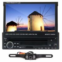7touch Screen 1 Din Car Dvd Player Bluetooth Radio Ipod Tv Usb Sd+backup Camera