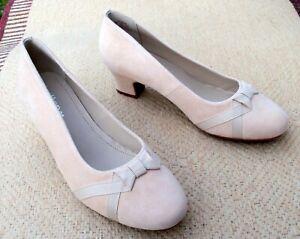 HOTTER suede neutral colour court shoes
