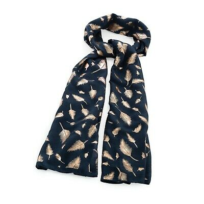 Ladies Scarf Navy And Rose Gold Foil Print Feather Design Women Wrap