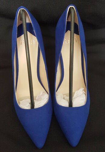 Faith BRIGHT BLUE high stiletto heel POINTED COURT SHOE DEBENHAMS