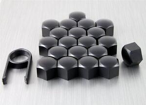19mm-Nero-Opaco-LEGA-RUOTA-DADO-BULLONE-copre-CAPS-Set-UNIVERSALE-PER-QUALSIASI-AUTO