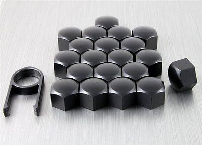 19mm Nero Opaco Lega Ruota Dado Bullone Copre Caps Set Universale Per Qualsiasi Auto-