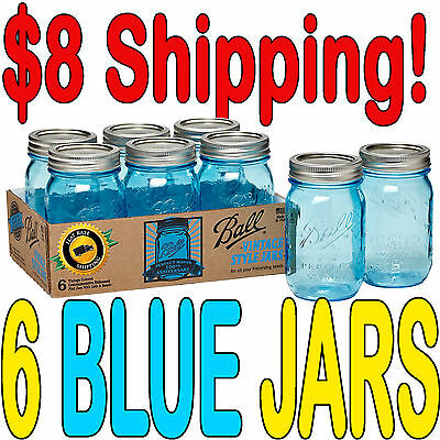 6 x Ball Mason Heritage Blue Pint Jars and Lids Limited Edition BPA FREE!