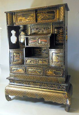 Antique Meiji Japanese Cabinet Shelf Shodana Black Lacquer Gilt Pagoda Bridge