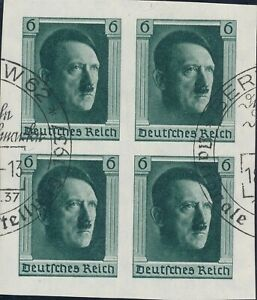 Lot-Stamp-Germany-Sc-B103-Block-1937-3rd-Reich-Adolf-Hitler-Birthday-Imperf-Used
