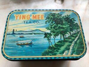 "Ying Mee Woo Loong Tea Co. 5 oz. Tin Empty 5 x 3.5 x 3.5"" Rare Hong Kong Vintage"