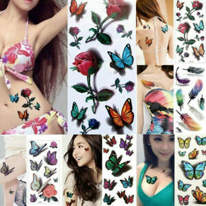 1 Temporary Tattoos For Women Body Art Tattoo Sticker 3d Butterfly Flower Tatoo Ebay