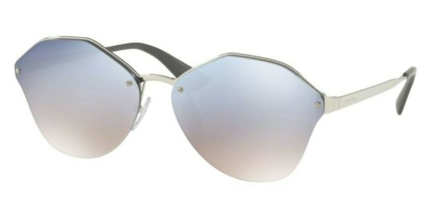 1e6bd3ca874a9 PRADA PR 64ts 1bc-5r0 Silver Frame Light Blue Shaded Lens Sunglasses 66