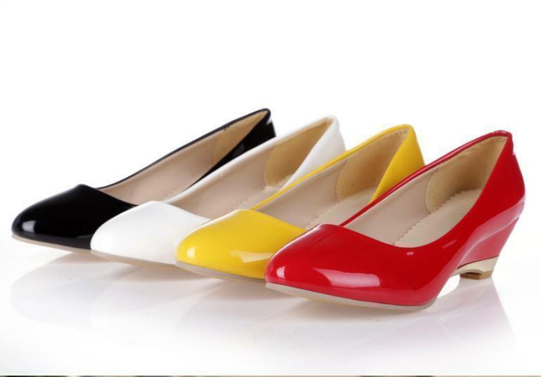 Womens Dress Shoes Patent Leather Wedge Heels Pumps Shoes Work Dating Shoes 2017