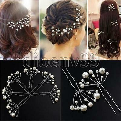 6pcs White Pearl Flower Hair Clip Pin Wedding Party Bridal Prom Jewellry Beauty