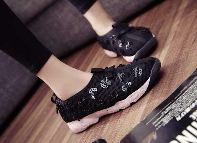 Womens lace mesh sequin flowers casual sport shoes girls low top running sneaker