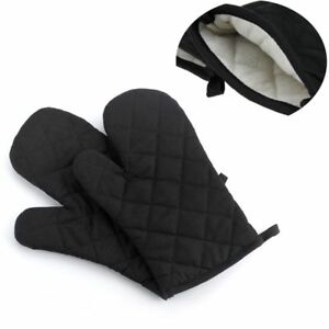 1-Pair-Fashion-Baking-Black-Cook-Oven-Gloves-Cotton-Thick-Padded-Insulated-Mitt