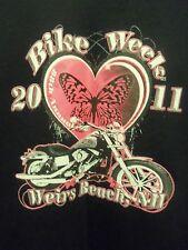 Weirs Beach NH bike week 2011 black n pink L t shirt graphic