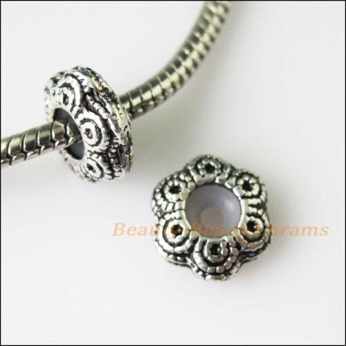 5Pcs Antiqued Silver Flower Bead Rubber Stopper fit European Charm Bracelet 12mm