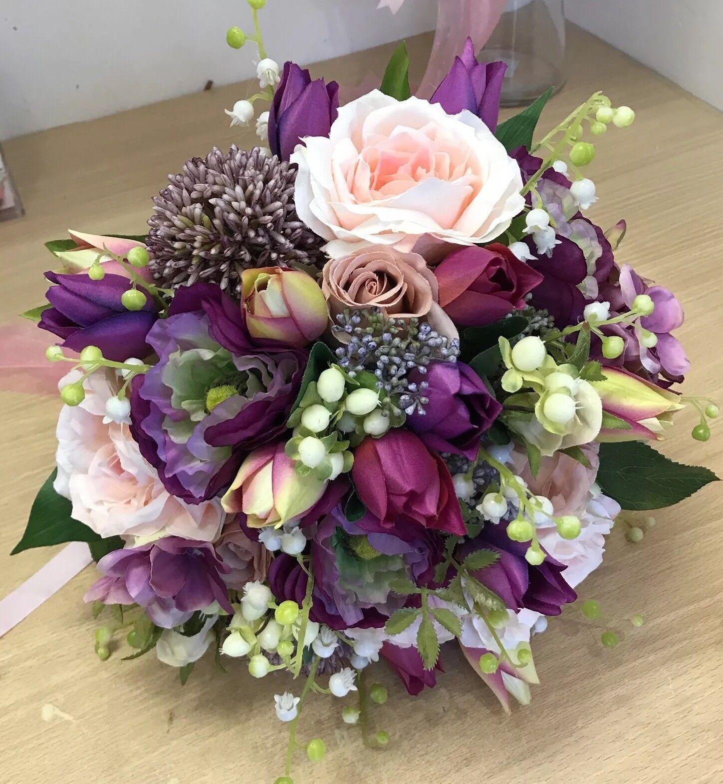 Artificiali Bouquet Nozze, Sposa, abiti da sposa, sposa, sposa, rosa blush rosa & Tulipani Display, Posy 60cca9