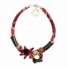 Bib Rope Chain Black Handmade Wood Flower Pendant Statement Necklace For Women