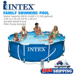 Intex 56999 metal frame large capacity outdoor family swim swimming pool ebay for The capacity of a swimming pool
