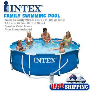 Intex 56999 Metal Frame Large Capacity Outdoor Family Swim Swimming Pool Ebay