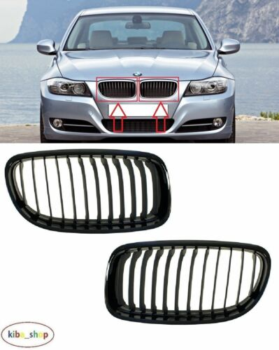 BMW 3 E90//E91 2008-2012 Negro rejillas De Radiador Superior Parachoques delantero izquierda derecha
