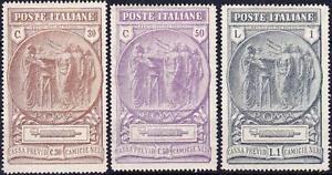 Italia-1923-Regno-CAMICIE-NERE-3v-1L-filigrana-Lettere