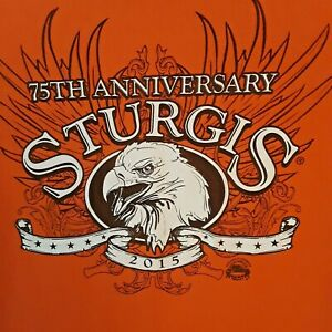 DELTA-STURGIS-Mens-Large-T-Shirt-75th-Anniversary-Motorcycle-2015-Eagle-Orange