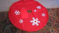 NEW WITH TAGS 40 INCH RED FELT CHRISTMAS TREE SKIRT LARGE WHITE SNOWFLAKES