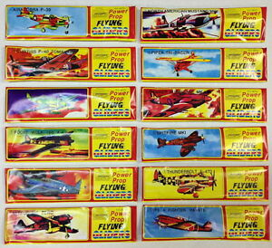 SET-OF-5-DIFFERENT-STYROFOAM-GLIDERS-POWER-PROP-WW-2-FLYING-ACES-WAR-PLANES