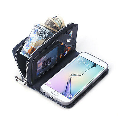 Luxury Leather Purse Wallet Card Case Cover with Zip Up Zipper for Galaxy S9 + 8
