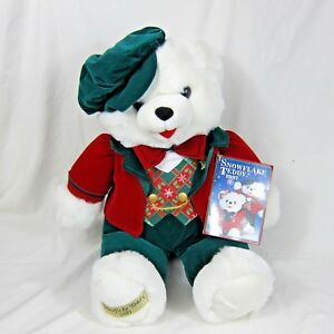 Dan-Dee-Snowflake-White-Teddy-Bear-Plush-1997-Green-Red-Outfit-Christmas-22-034