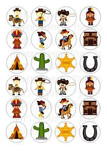 cowboy and indian wedding cake topper 24 cowboys and indians cupcake topper wafer rice edible 13023
