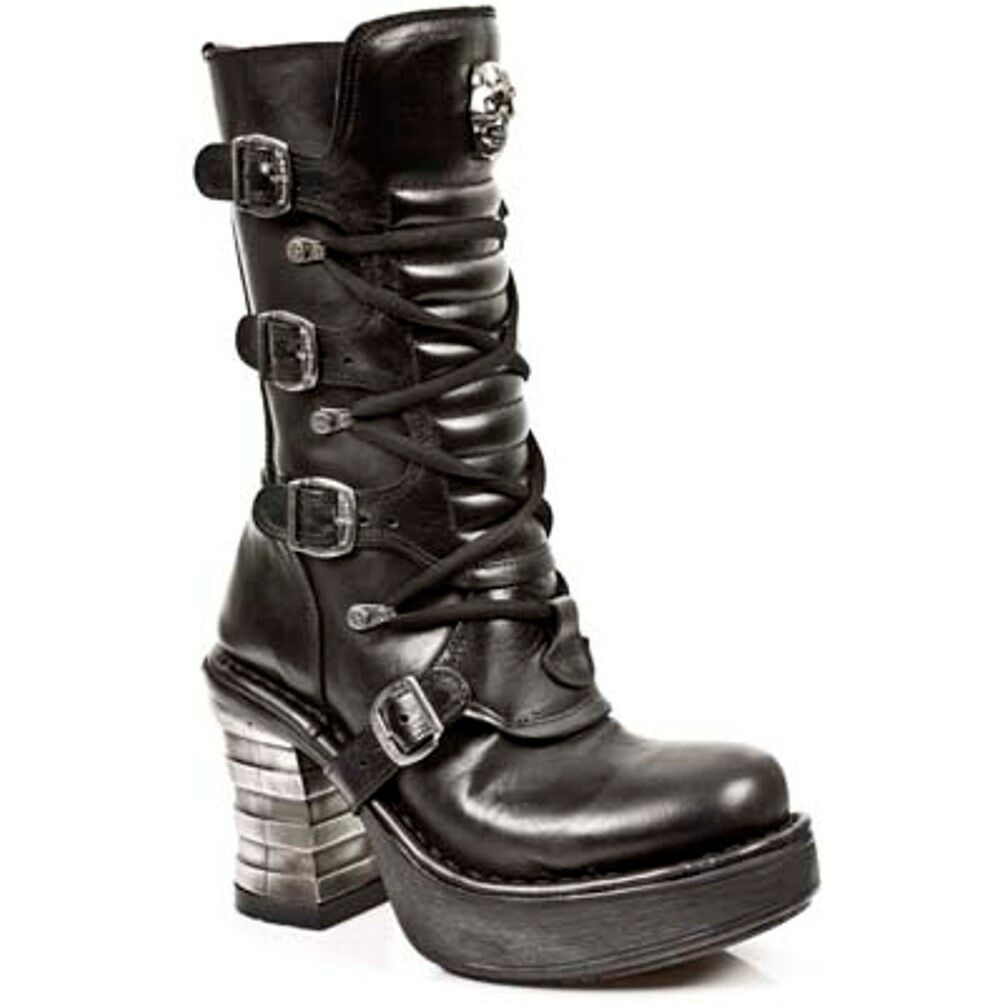 New Rock Boots 8373 Donna Punk Gothic Stivali - Style 8373 Boots S1 Nero 40a35c