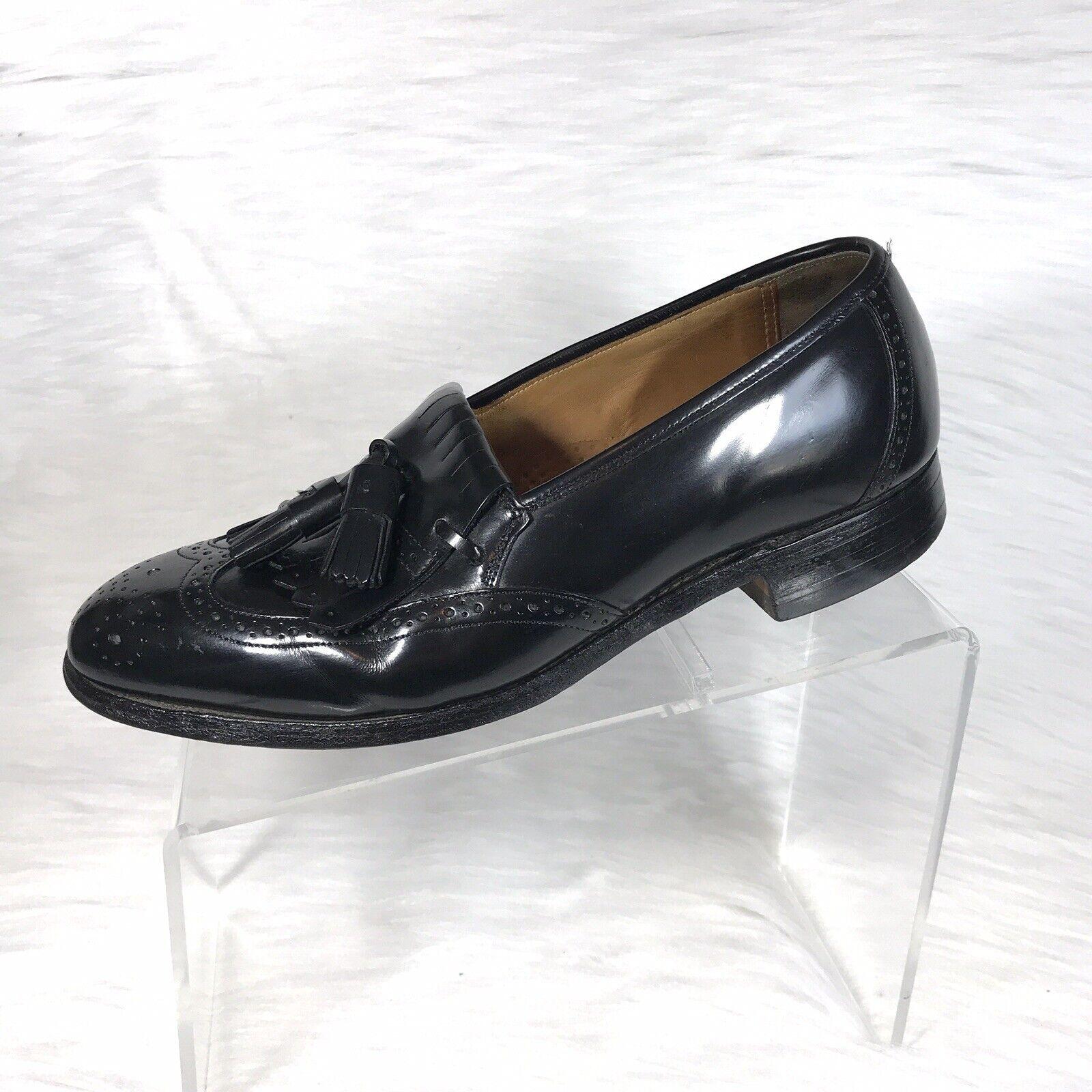 Johnston Murphy Men's Tassel Loafers Black Wingtip Size 8 D