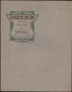 OFFICER-OF-THE-DAY-antique-piano-solo-R-B-HALL-march-two-step-MILITARY-1903