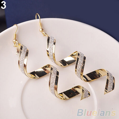 Women Unique Bead Twist Spiral Shape Eardrops Lady Long Dangle Hook Earrings