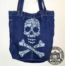 S26. skull heart teschio Jeans Denim SHOPPING BAG marionelli Borsa Tessuto