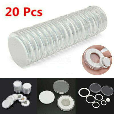 20Pcs 46mm Coin Capsule Plastic Display Storage Box Collection Holder Container