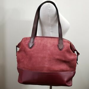278426be4e9 Image is loading Brooks-Brothers-Suede-Maroon-Leather-Bottom-Tote-Work-