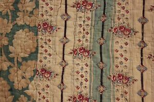 Antique-French-Quilt-1820-pique-Provence-printed-fabric-small-scale-print-cotton