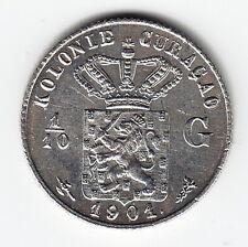 CURACAO 1/10 Gulden 1901 KM36 Ag.640 Wilhelmina 1-yr type VERY HIGH GRADE - RARE
