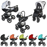 Pram Stroller Buggy Pushchair Poussette Vip Basic Comfort Leather Swivel Wheels
