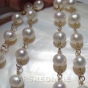 42-cm-KETTE-HANDGEWICKELT-7-8mm-Zucht-Perlen-weiss-ygf-14k-Gold-585